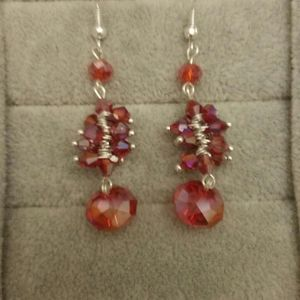 Beaded Earrings: Pink Crystal Iridescent